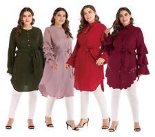 Women Long Sleeve Shirt Muslim Loose Belt Maxi Islam Blouse Tops Dress Plus Size
