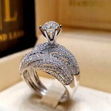 Wedding Sz 6-10 Women Silver Birthstone Ring Vintage 925 Sapphire White Jewelry