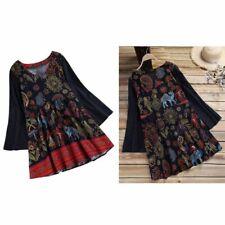 Women Spring Autumn Shirt Dress Vintage V Neck Long Sleeve Boho Floral Prin S7E8