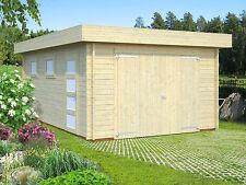44 mm Holzgarage Rasmus 1 / 2 / 3 Garage ca. 380x570 cm Blockhaus Carport Holz