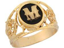 10k or 14k Yellow Gold Onyx Letter M Modern Ladies Filigree Initial Ring