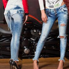 FOGGI Damenjeans Jeans Damenhose Röhrenjeans Crashlook Hüftjeans 34 - 36 #F220