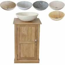 Cloakroom Small Compact Oak Bathroom Modern Vanity Cabinet and Stone Basin 309