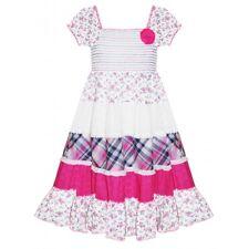 Domino GIRL Rosa Check & Estampado Floral Gitano Sol Vestido 3-11 años