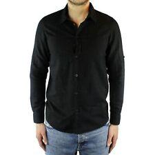 Men's Shirts Linen Black Slim Fit Long Sleeve Summer Sartorial Elegant Casual