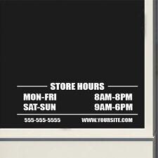 Custom Business Basic Store Hours Sign Vinyl Decal Sticker Window Door