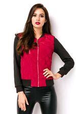 Veste matelassée Femme Noir Rouge poignets deux couleurs vêtement robe uy 15086