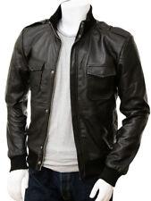 Mens Black Bomber Leather Jacket Flight Lambskin Size S M L XL XXL Custom Made