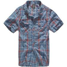 Brandit Roadstar Hombres Compruebe Algodón Franela Camisa Manga Corta Rojo Azul
