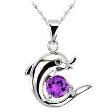 925 Sterling Silver purpleSwarovski  Dolphin pendant necklace L: 40cm/45cm