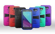 For Verizon Samsung Galaxy J3 Mission Rugged Armor Hybrid Kickstand Cover Case