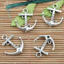 100pcs Alloy metal Tibetan Silver color love anchor  design charms  F11925