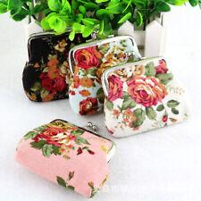 Women Retro Flowers Small Wallet Coin Purse Hasp Clutch Key Holder Mini Handbag