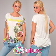 Blusa para mujer OH MIEL Estampado Casual 100% Camiseta Algodón