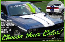 2008 - 2014 Dodge Challenger SXT RT SRT8 Full Set Dual Hood T Racing Stripes #20