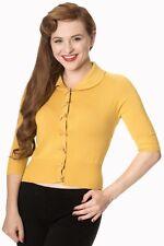 Banned 50s Rockabilly Plain Peter Pan Collar Cardigan Retro Top Mustard Yellow