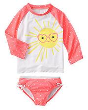 NWT Gymboree Girl Rash Guard SET Sun Polka Dots Swimsuit Swim shop UPF 50+