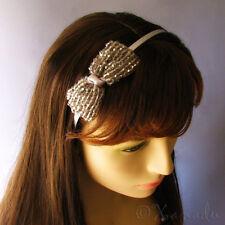 Silver Grey, Gray Swarvoski Crystal Bow Tie Headband With Hand Beaded Details