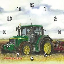 "John Deere ploughing by Sue Podbery Handmade Wall Clock 19.6cm 8"" / 11"" 28.5cm"