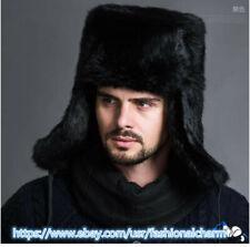 Mens Real Rabbit Fur Hat Russia Trapper Earflap Cap Snowboard Earflap Ushanka