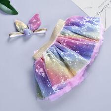 Girls Kids Tutu Skirt Ball Party Dance Ballet Bling Dancewear +Ears Headband Set