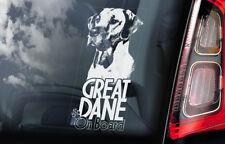 Great Dane on Board - Car Window Sticker - German Mastiff Dog Sign Decal - V02