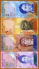 SET, Venezuela, 2;5;10;20 Bolivares, 2007-2011, P-88;89;90;91 UNC