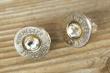 30-30 Nickel Bullet Stud Earrings Sterling Silver, Bullet Jewelry, FREE SHIP