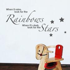 When It Rains LOOK pour arcs-en-ciel citations murales mots Autocollant W31