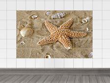 Fliesenaufkleber Fliesenbild Fliesensticker für Badezimmer Seestern Muscheln