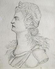 Dame mit Blumen im Haar Diskuswerfer alte Original-Bleistift-Zeichnung