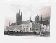View of Ypres Town Hall BELGIUM 1878 Steel Engraved Print - Barlett/Payne