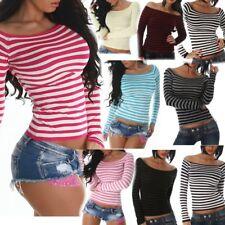 615be407c647 SeXy Miss Damen Pullover leichter Feinstrick Pulli Shirt streifen kurz XS S