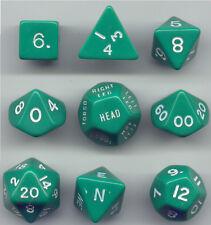 RPG Opaque Green Dice Cube 9pc D20, D12, D10, D8, D6, D4, Compass, Hit loc.