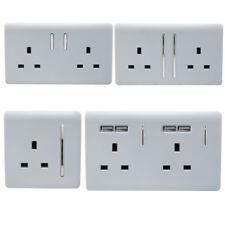 Trendi Switch Modern Designer Silver Designer Plug Sockets, Single, Double & USB