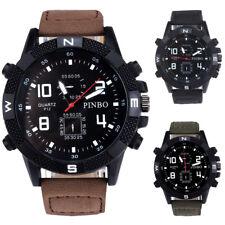 Luxus Herren Canvas Sportuhr Militär Uhren Edelstahl Analog Quarz Armbanduhr