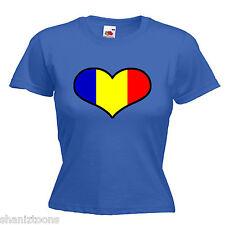 Romania Love Heart Flag Ladies Womens Lady Fit T Shirt
