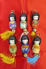 """3"""" Grande Stile Giapponese Kokeshi DOLL Bell Portachiavi Portachiavi"""