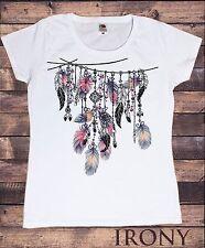 Para Mujeres Blanco T-Shirt Tribal Rojo Indio Nativo Americano Plumas-Cultura TS545