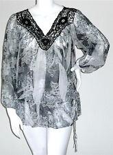 Simply Irresistible Sublimation Crochet Lace Tunic Top Blouse Blck Plus 1X 2X 3X