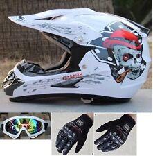 Youth Motocross Tattoo Helmo Casco Racing Helmet White Skull + Goggle + Glove