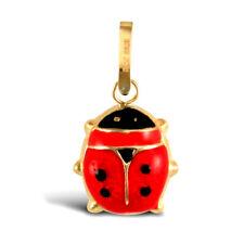 Donna 9ct Oro Smalto Rosso Nero Pendente Charm Coccinella