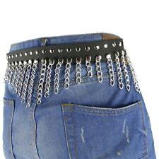 38mm Rivet Belt W/Link Single Chain Hanging Chain Leather Mens Wear Belt B883
