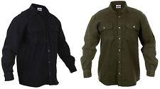 Men's Heavyweight 100% Cotton Flannel Button-Down Shirt - OD or Black - S - 4XL