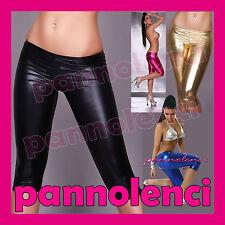 Pantaloni pinocchietti capri leggings donna metallizzati liquid fuseaux LE02