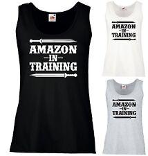 AMAZON IN TRAINING VEST SS77 - Gym Fitness Wonder Woman Parody Workout