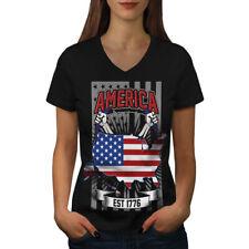 NATION américaine Femme Fashion T-Shirt col V nouveau | wellcoda