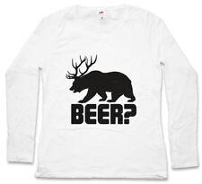 BEER? DAMEN LANGARM T-SHIRT Deer Bear Fun Hunt Hunter Drinking Sport Bier Jagd