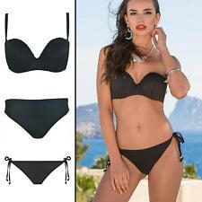 Pour Moi Pleated Strapless Bikini Top or Fold or Tie Side Bikini Brief Black