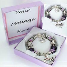 Girls Horse Pony Bracelet PERSONALISED BOX Purple Beads Jewellery Birthday Gift